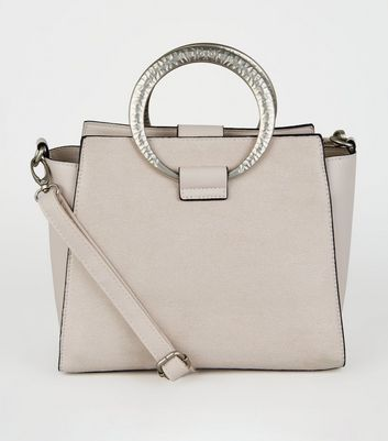 Nude Suedette Hammered Ring Shoulder Bag
