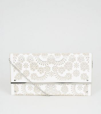White Laser Cut Clutch Bag