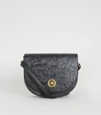 Black Leather-look Floral Embossed Bag