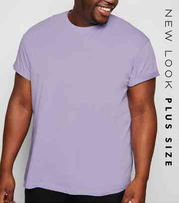 Plus Size Lilac Roll Sleeve T-Shirt