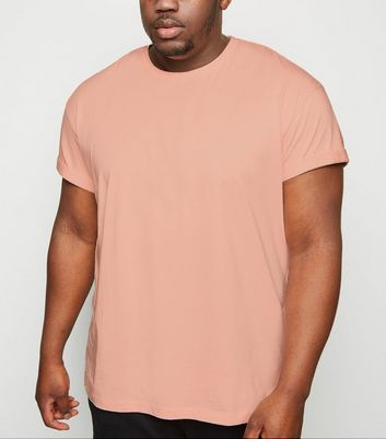 Plus Size Coral Roll Sleeve T-Shirt