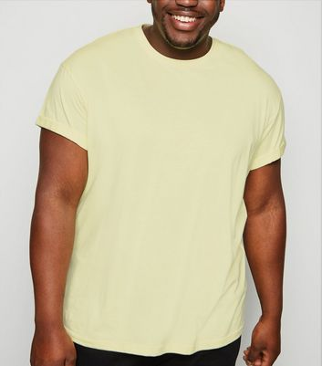 Plus Size Pale Yellow Roll Sleeve T-Shirt