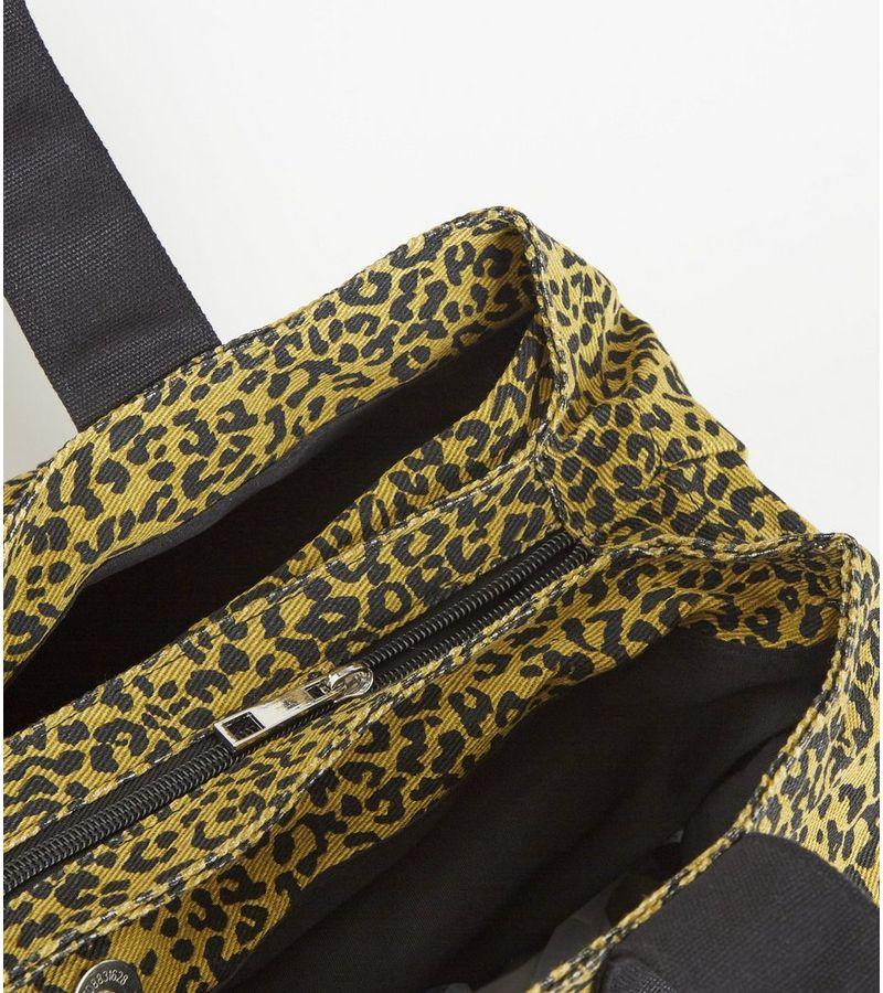 New Look - orange leopard print canvas tote bag - 2