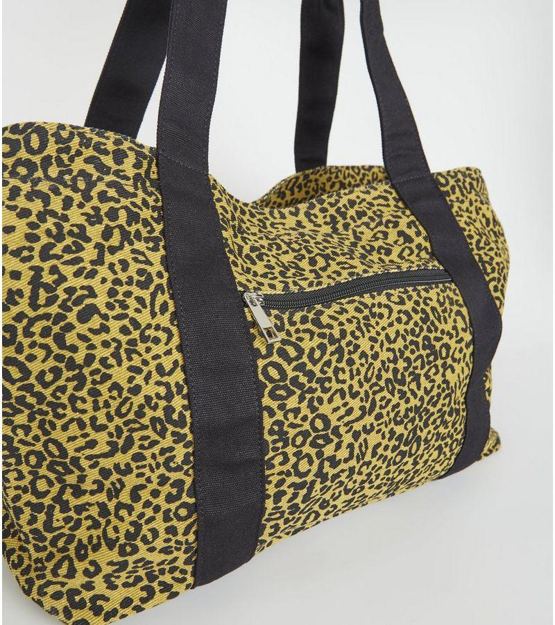 New Look - orange leopard print canvas tote bag - 3