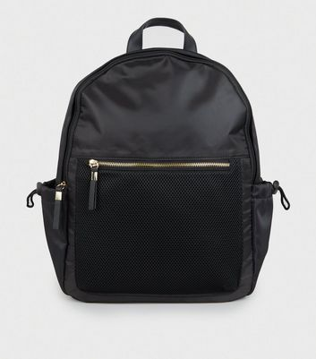Black Shell Mesh Front Backpack