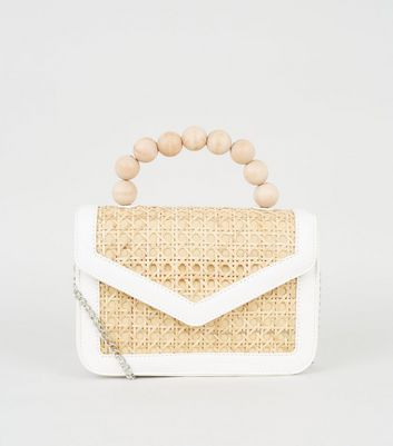 Stone Bamboo Beaded Handle Shoulder Bag