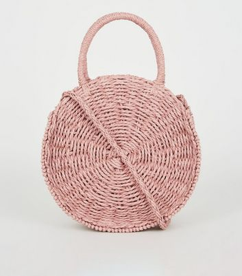Pink Woven Straw Effect Round Bag