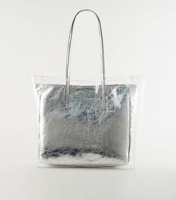 Silver Clear Layer Crinkle Tote Bag