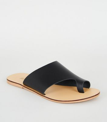 Black Leather Toe Loop Sliders | New Look