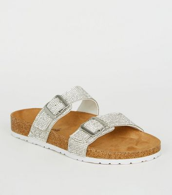 Silver Glitter Footbed Sandals | New Look