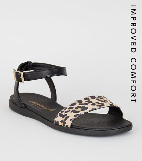 99beb885aae5 ... Stone Leopard Print Strap 2 Part Sandals ...