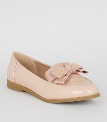 Pink Patent Bow Loafers