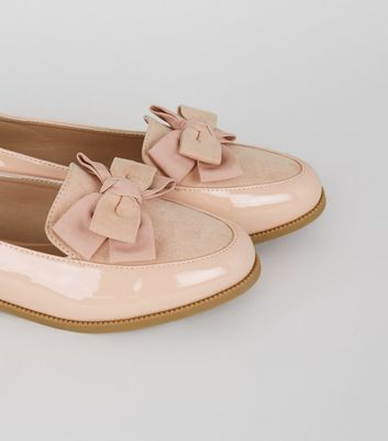 Pink Patent Bow Loafers | New Look