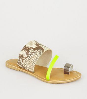 Stone Leather Faux Snake Neon Strap Sliders