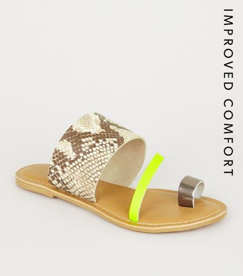 ab1631b92 ... Stone Leather Faux Snake Neon Strap Sliders ...