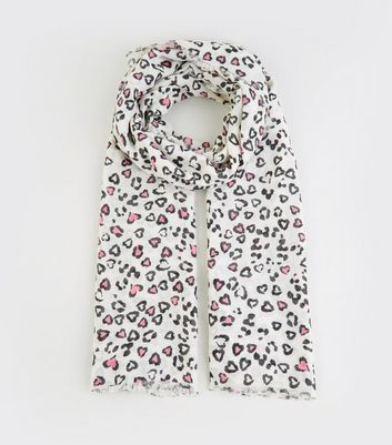White Leopard Heart Print Scarf