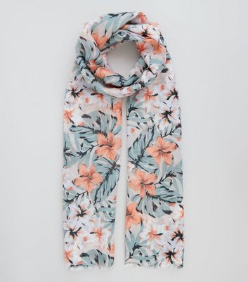 Pink Tropical Floral Longline Scarf