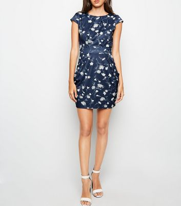 shop for Blue Vanilla Floral Print Tulip Dress New Look at Shopo