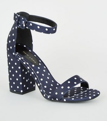 Navy Satin Spot 2 Part Block Heels