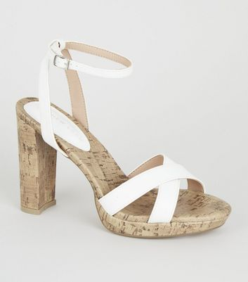 White Cross Strap Cork Platform Heels