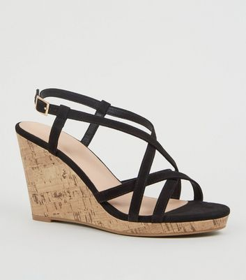 d53ad8df006 Black Suedette Strappy Cork Wedges by New Look