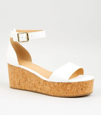 White Leather-Look Cork Flatforms