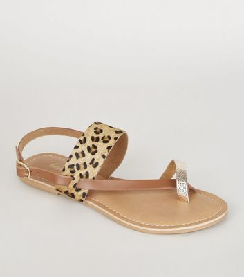 Stone Leather Faux Leopard Fur Strappy Sandals