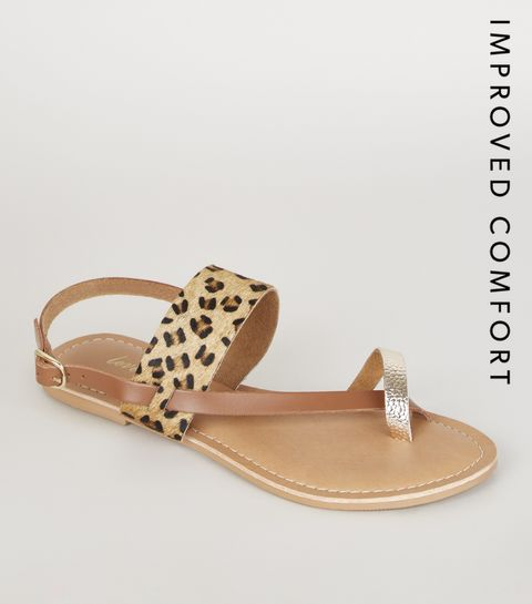 188c5ac0225a ... Stone Leather Faux Leopard Fur Strappy Sandals ...