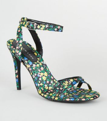 Multicoloured Satin Floral Strappy Stiletto Heels