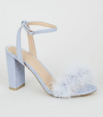 Pale Blue Feather Strap Block Heel Sandals