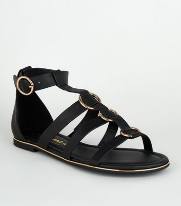 Black Ring Buckle Gladiator Sandals