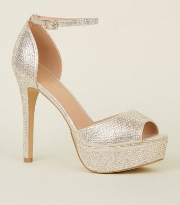 Platform To Saved Heels Silver Shimmer Items Remove Diamanté Add From jA5R4L