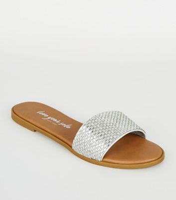 Silver Gem Strap Sliders