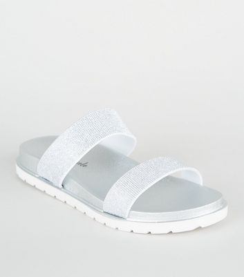 Silver Metallic Glitter Footbed Sliders