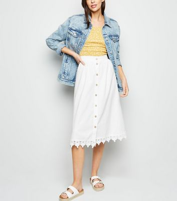 White Linen Blend Crochet Trim Midi Skirt