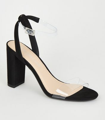 Black Clear Strap 2 Part Block Heels