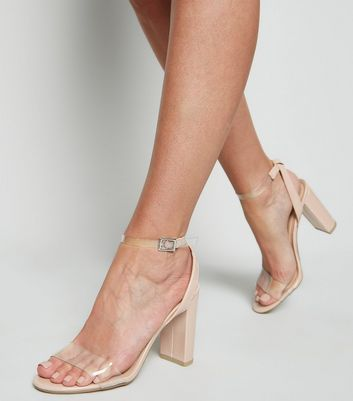 clear strap block heels cheap online