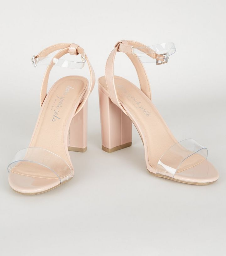cb57678212b Nude Patent Clear Strap Block Heels Add to Saved Items Remove from Saved  Items