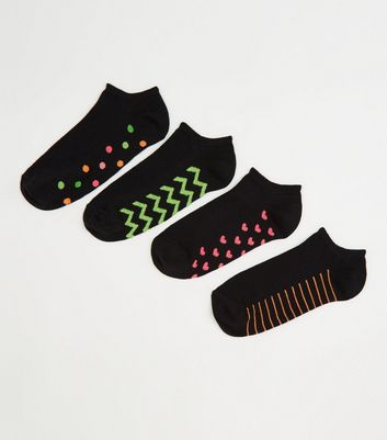 4 Pack Black Neon Pattern Trainer Socks
