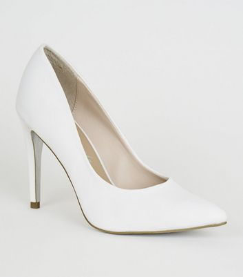 White Satin Pointed Glitter Sole Court Shoes