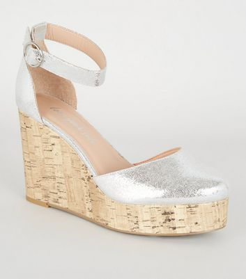 Silver Metallic Cork Platform Wedges