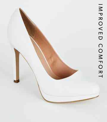 4f58dc65e8 White Leather-Look Platform Court Shoes ...