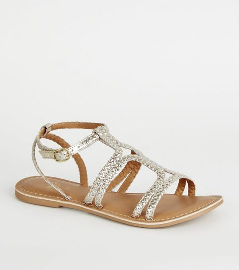 5e17fecdf470 ... Girls Gold Leather Plait Strap Sandals ...