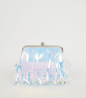 Multicoloured Holographic Fringe Cross Body Bag