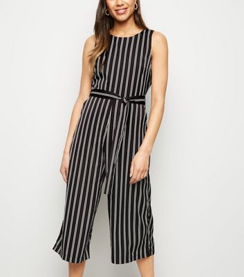 Mela Black Stripe Culotte Jumpsuit