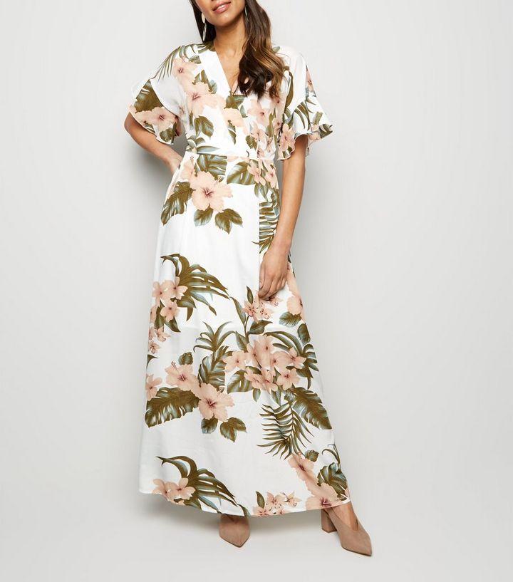 f0bcbd6c4f Mela Off White Tropical Floral Maxi Dress