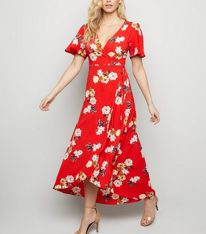 c22adcd2fc Mela Red Floral Wrap Maxi Dress | New Look