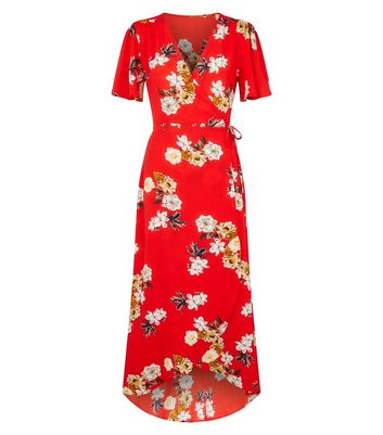 shop for Mela Red Floral Wrap Maxi Dress New Look at Shopo
