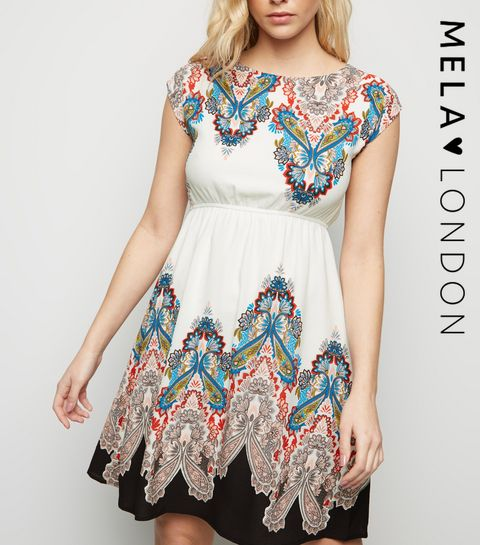 e345bc9d753 ... Mela White Aztec Border Print Dress ...