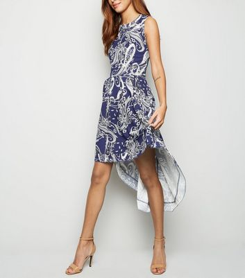 shop for Mela Blue Paisley Dip Hem Dress New Look at Shopo
